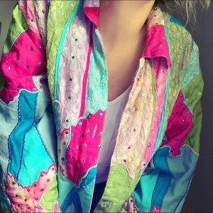 Vintage color block lace sequins bomber jacket